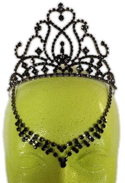 Black Rhinestone Evil Queen Fairy Costume Tiara V Drop Medieval Halloween Gothic