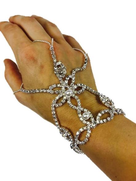 Rhinestone & Pearls Hand Slave Bracelet 3 Finger Loops Womens Costume Jewelry