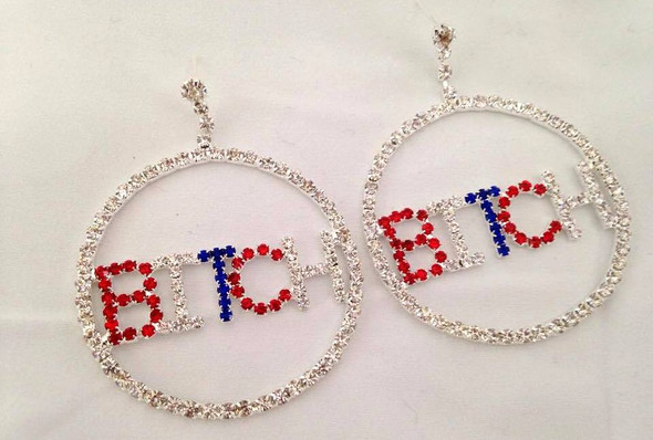 Bitch Rhinestones Doorknocker Earrings USA Patriotic Women's Costume Jewelry