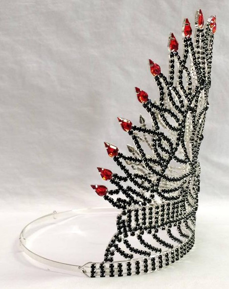 "8"" Skull Rhinestone Tiara Crown Black Red Fire Flame Halloween Costume Accessory"