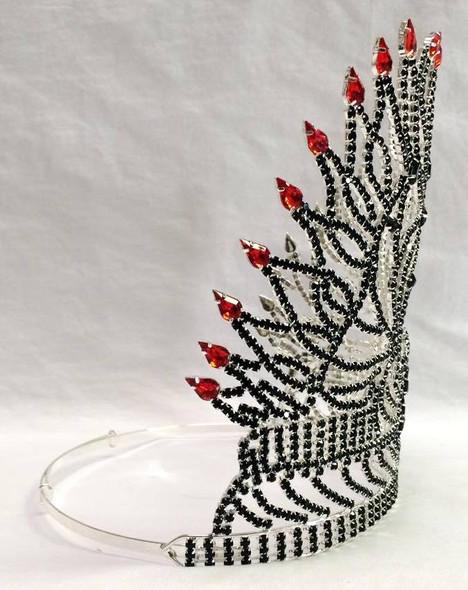 "8"" Skull Rhinestone Tiara Crown Black Red Fire Flame Halloween Costume Accessory"