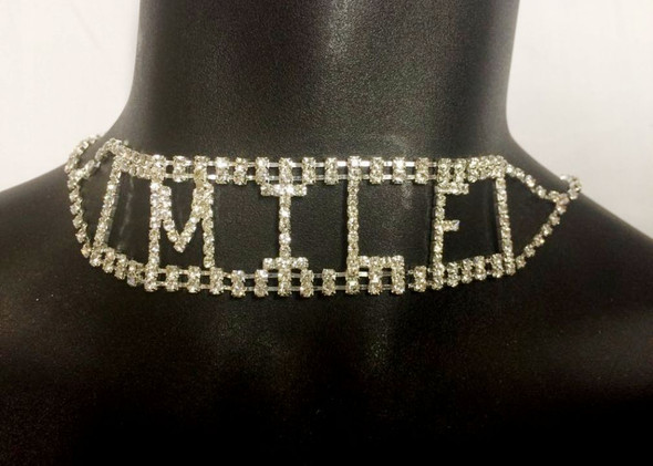 Sexy Rhinestone MILF Choker Necklace Costume Accessory Jewelry Naughty K*nky