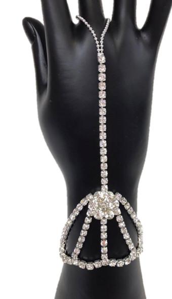 Rhinestone Daisy Flower Hand Harness Bracelet Finger Loop Womens Costume Jewelry