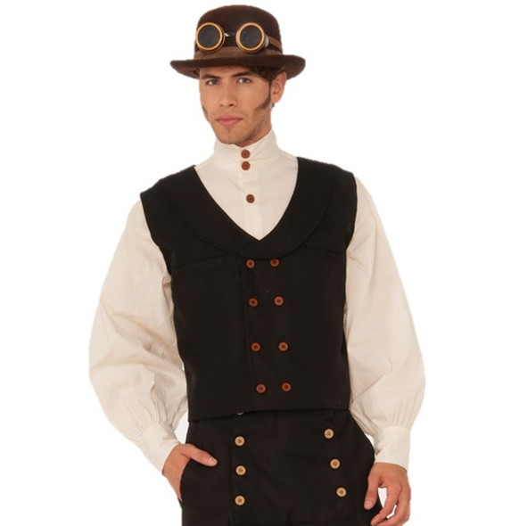 Steampunk Vest Black Mens Waistcoat Costume Accessories One Size Pirate Medieval