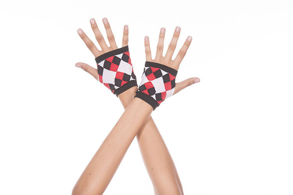 Opaque Fingerless Gloves With Jester Diamond Print Black Red White Adult Women's