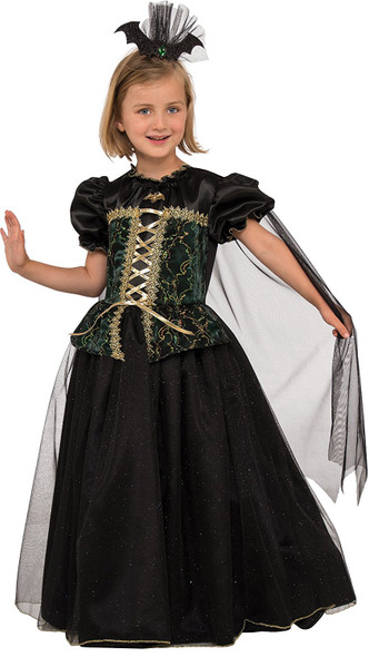 Princess Battina Dress & Bat Crown Vampire Renaissance Child Girls Costume SM-LG