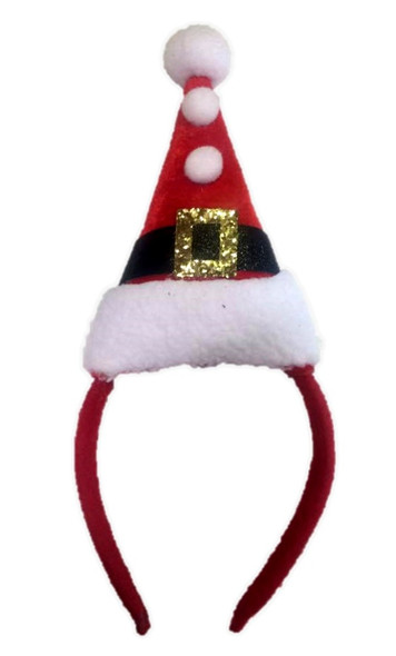 Santa's Hat On A Headband Christmas Elf Adult Children Red Costume Accessory
