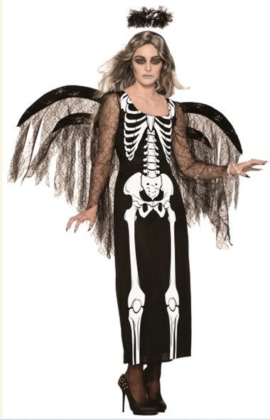Angel of Death Halloween Costume Womens Evil Black Fancy Dress Skeleton Bones