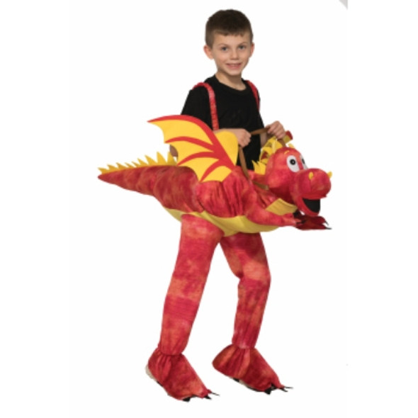 Ride On A Dragon Child Halloween Costume Red Monster Rider Boys Girls Mystical