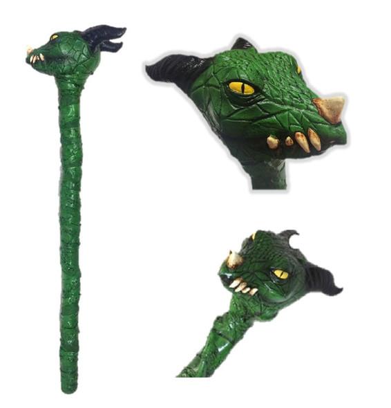 """35"""" Deluxe Latex Green Dragon Crosier Staff Halloween Costume Prop Walking Stick"""