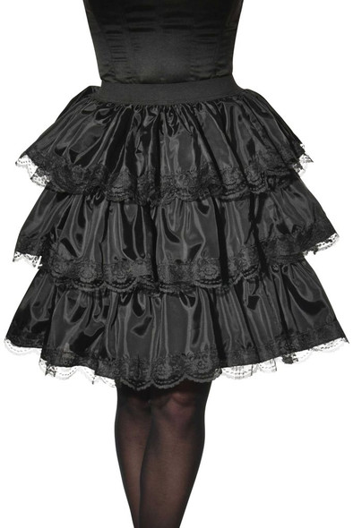 Black Ruffle Skirt Adult Women's Costume Accessory Steampunk Gothic Lolita Lace