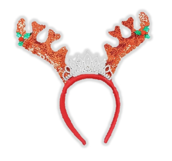 Red Christmas Princess Reindeer Antlers Headband Holiday Xmas Costume Accessory