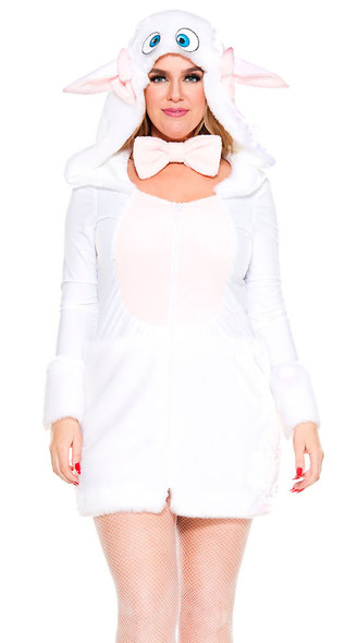 Adorable Sheep Women's Plus Size Costume Sexy Cute Fluffy Hooded Dress 1/2X-3/4X