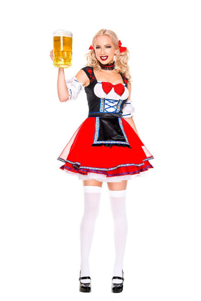 Music Legs Oktoberfest Beer Babe Costume Womens Red Maiden Fancy Dress XS-XL
