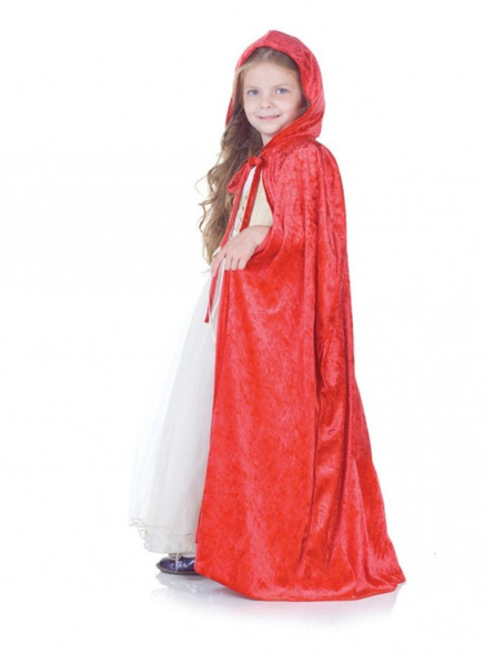 Red Panne Velvet Cape Hooded Cloak Robe Christmas Child Costume Accessory Hood