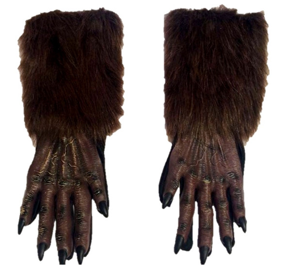 Brown Werewolf Gloves Wolf Halloween Adult Costume Accessory Evil Faux Fur Latex