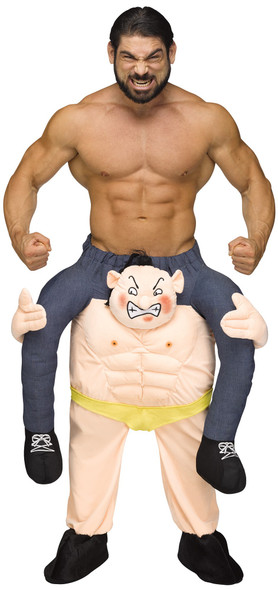 Carry Me on Your Shoulders Weightlifter Costume Piggy Back Ride On Adult Funny