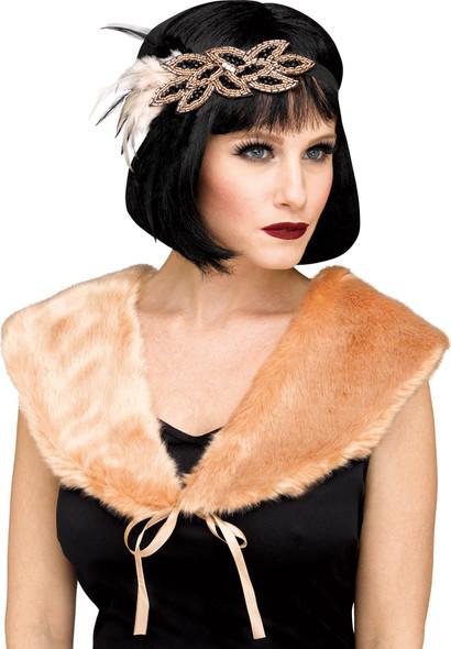 1920's Champagne Stole Womens Flapper Faux Fur Shoulder Cape Costume Accessory