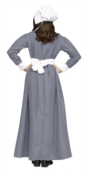 Pilgrim Girl Costume Grey Dress Prairie Pioneer Child Thanksgiving  Little House