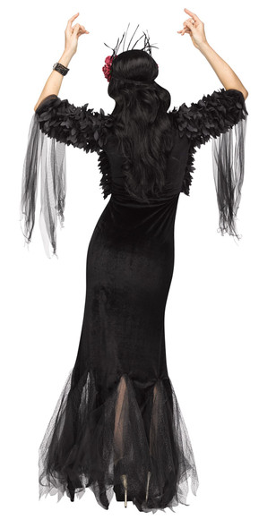 Sexy Raven Mistress Costume Womens Halloween Black Witch  Sorceress Fancy Dress