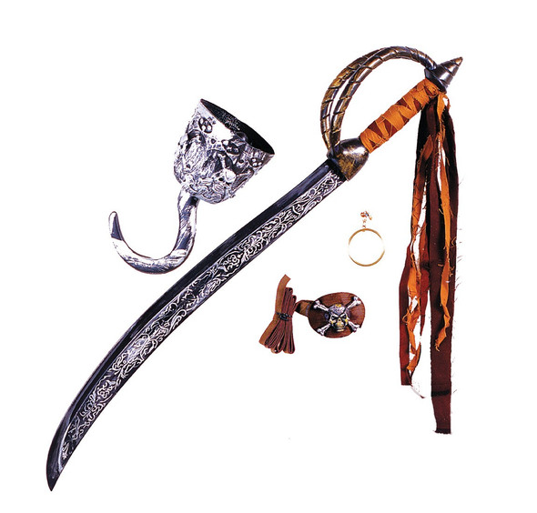 Deluxe Caribbean Pirate Kit Adult Child Sword Eye Patch Hook Costume Accessory