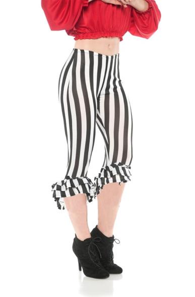 Ruffle Costume Leggings White N' Black Pirate Stripes Capri Pants Adult Women's