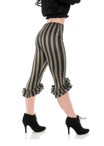 Ruffle Costume Leggings Green Black Pirate Clown Stripes Adult Women Capri Pants