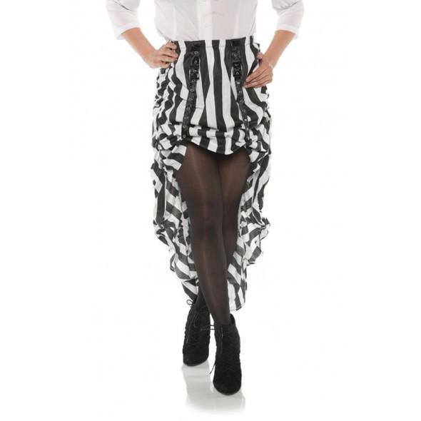 Steampunk Costume Skirt White N' Black Stripes Pirate Hi-Low Adult Women's SM-XL