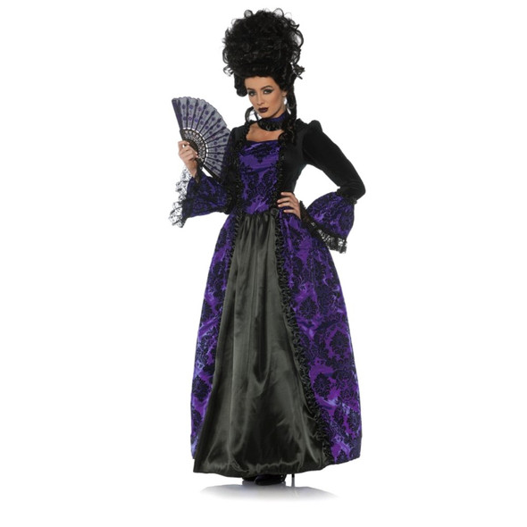 Eerie Marie Costume Dress Victorian Gothic Antoinette Black Purple Womens SM-XL