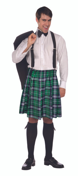 Naughty Kilt Shorts Plaid St. Pat's Irish Skirt Costume Mens Kiss My Shamrocks