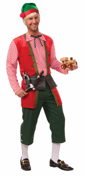 Christmas Toy Maker Elf Adult Costume Santa's Helper Outfit Workshop Green Red