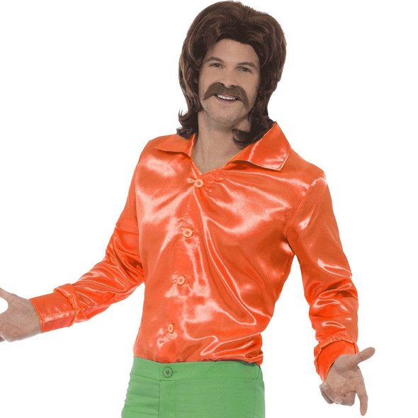 60's 70's Orange Costume Shirt Adult Mens Retro Disco Hippie Fancy Dress MD-LG