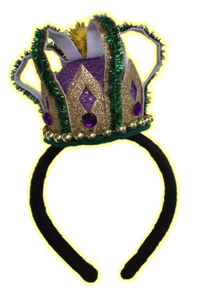 Mardi Gras Mini Crown Hat on a Headband Glittery Queen King Festival Prop