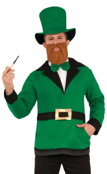 Lucky Leprechaun Costume Set Adult St Patrick Irish Pullover Top Hat Bow Tie O/S