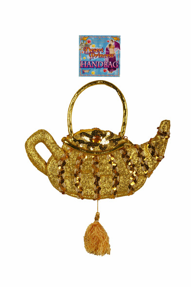 Genie Lamp Purse Egyptian Handbag Gold Sequins Cleopatra Women Costume Accessory