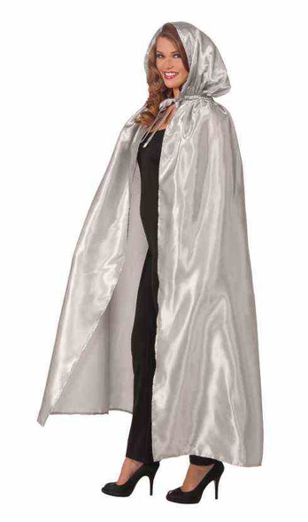 Fancy Masquerade Silver Cape Satin Hooded Cloak Robe Adult Costume Accessory New