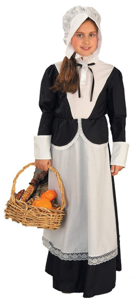 Pilgrim Girl Child Costume Fancy Dress Black White Colonial Pioneer Medium 8-10
