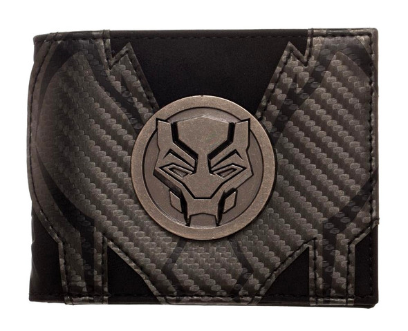 Marvel Black Panther Bi-Fold Black Wallet Metal Badge PU Leather Superhero