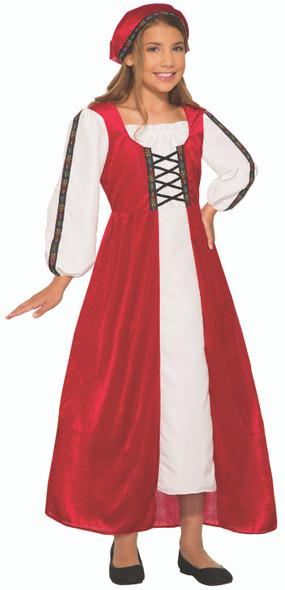 Renaissance Faire Girl Medieval Peasant Child Costume Dress Red White SM-LG New