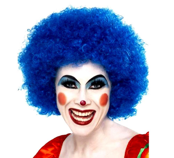 Blue Clown Wig Quality Jester Party Costume Accessory Men Women's Afro Curly