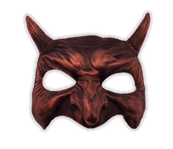 Antique Copper Half Mask Venetian Devil Goblin Demon Costume Accessory Men Women