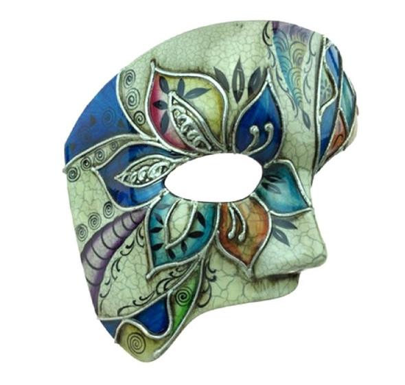 European Venetian Phantom Half Costume Mask Adult Men Women Opera Blue