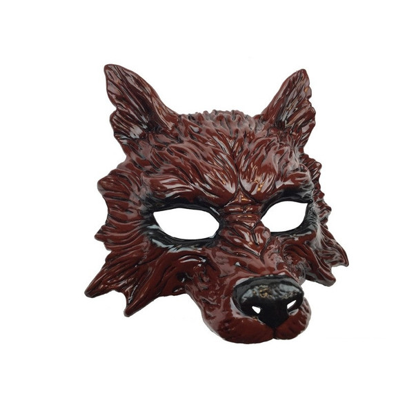 Bloody Red Wolf Half Mask Adult Animal Angry Dog Venetian Costume Accessory