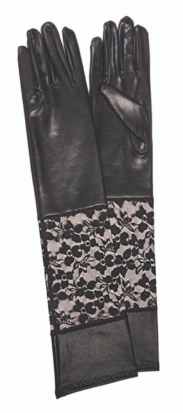 Forum Novelties Dark Royalty Black Lace Wet Look Gloves Womens Costume Accessory