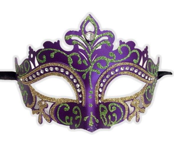 Mardi Gras Half Venetian Eye Mask Glitter Laser Cut Masquerade Costume Accessory