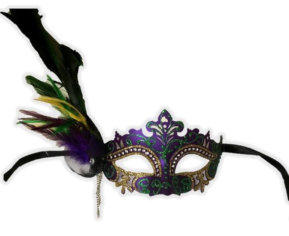 Mardi Gras Half Venetian Mask Feathers Laser Cut Masquerade Costume Accessory