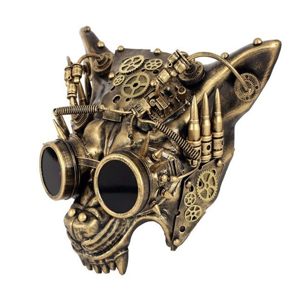 Gold Steampunk Wolf Half Mask Adult Animal Angry Dog Venetian Costume Accessory