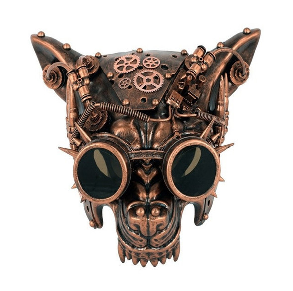 Copper Steampunk Wolf Half Mask Adult Animal Dog Venetian Costume Accessory