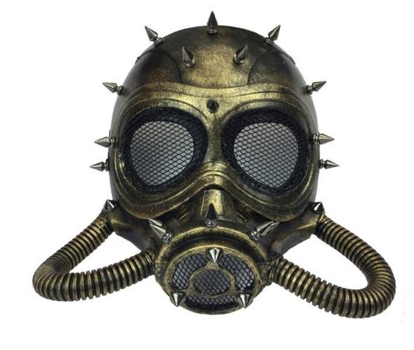 Gold Steampunk Submarine Fancy Half Mask Spikes Adult Masquerade Scuba Diver