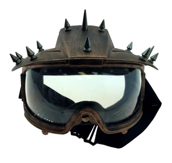Spiked Steampunk Eye Mask Motorcycle Biker Visor Goggles Adult Mens Copper